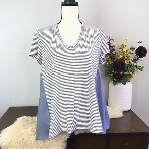 Anthro Deletta stripe chambray mixed media v neck